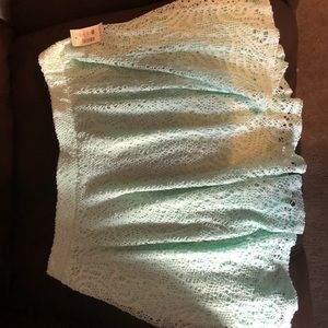 Lacy light turquoise skirt